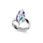 Wholesale Scarab 12mm Silver Ring with Swarovski Crystal - White AB