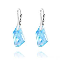 Boucles d'Oreilles Mini De-Art en Argent et Cristal Bleu AB
