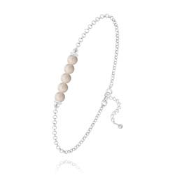 Bracelet 5 Perles Rondes 4mm en Argent et Pierres Naturelles - Pierre de Rivière