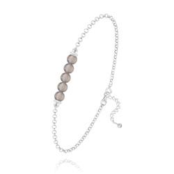 Bracelet 5 Perles Rondes 4mm en Argent et Pierres Naturelles - Agate Grise