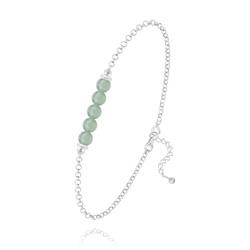 Bracelet 5 Perles Rondes 4mm en Argent et Pierres Naturelles - Aventurine