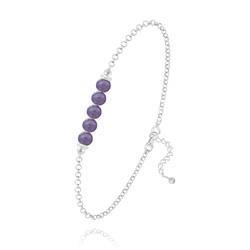 Bracelet 5 Perles Rondes 4mm en Argent et Pierres Naturelles - Améthyste