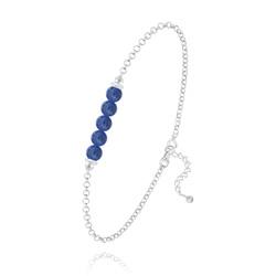 Bracelet 5 Perles Rondes 4mm en Argent et Pierres Naturelles - Lapis Lazuli