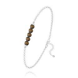 Bracelet 5 Perles Rondes 4mm en Argent et Pierres Naturelles - Oeil de Tigre