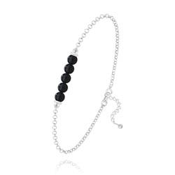 Bracelet 5 Perles Rondes 4mm en Argent et Pierres Naturelles - Onyx