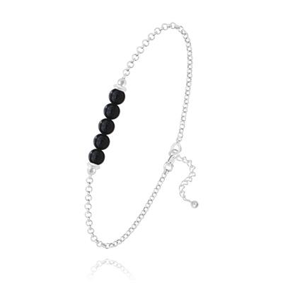 Bracelet en Pierre Naturelle Bracelet 5 Perles Rondes 4mm en Argent et Pierres Naturelles - Onyx