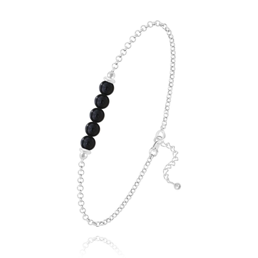 5 Onyx Et Bracelet En Naturelles Pierres Rondes 4mm Perles Argent wm8nN0v