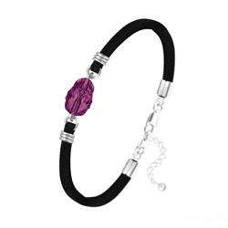 Bracelet en Cristal et Argent Bracelet Scarabée en Cristal et Argent - Améthyste