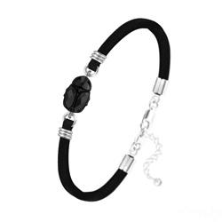 Bracelet Scarabée en Cristal et Argent - Jet (Noir)
