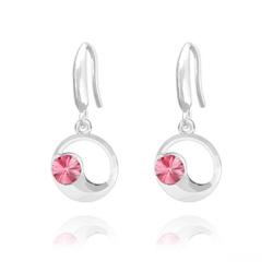Boucles d'Oreilles Lune en Argent et Cristal Rose
