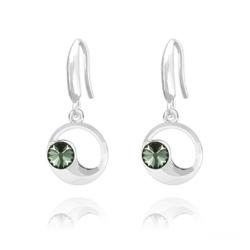 Boucles d'Oreilles Lune en Argent et Cristal Black Diamond