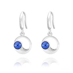 Boucles d'Oreilles Lune en Argent et Cristal Bleu Saphir