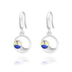Boucles d'Oreilles Lune en Argent et Cristal Aurore Boréale