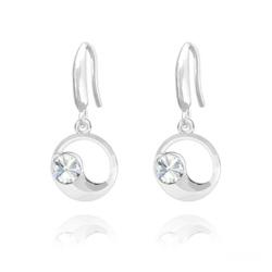 Boucles d'Oreilles Lune en Argent et Cristal Blanc
