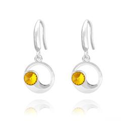Boucles d'Oreilles Lune en Argent et Cristal Sun Flower