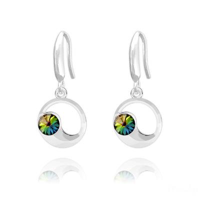 Boucles d'Oreilles en Cristal et Argent Boucles d'Oreilles Lune en Argent et Cristal Vitrail Medium