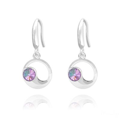 Boucles d'Oreilles en Cristal et Argent Boucles d'Oreilles Lune en Argent et Cristal Vitrail Light
