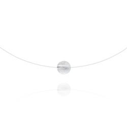 Ras de Cou Pierre 8mm sur Fil Nylon Transparent et Argent - Cristal de Roche