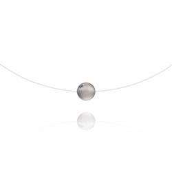 Ras de Cou Pierre 8mm sur Fil Nylon Transparent et Argent - Agate Grise