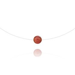 Ras de Cou Pierre 8mm sur Fil Nylon Transparent et Argent - Agate Rouge