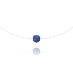 Ras de Cou Pierre 8mm sur Fil Nylon Transparent et Argent - Lapis Lazuli