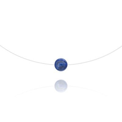 Collier en Pierre Naturelle Ras de Cou Pierre 8mm sur Fil Nylon Transparent et Argent - Lapis Lazuli