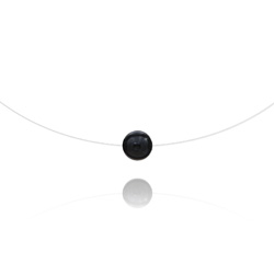 Ras de Cou Pierre 8mm sur Fil Nylon Transparent et Argent - Onyx