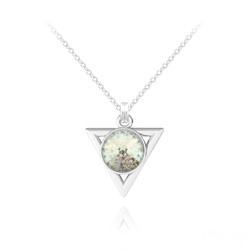 Collier Triangle Rivoli 8mm en Argent et Cristal White Patina