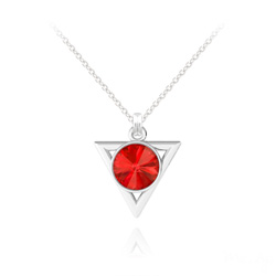 Collier Triangle Rivoli 8mm en Argent et Cristal Rouge Light Siam