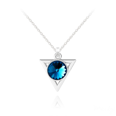 Collier en Cristal et Argent Collier Triangle Rivoli 8mm en Argent et Cristal Bleu Bermude