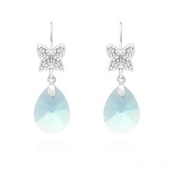 Boucles d'Oreilles Papillon sur Goutte en Argent Rhodié et Cristal Bleu