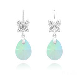 Boucles d'Oreilles Papillon sur Goutte en Argent Rhodié et Cristal Paradise Shine