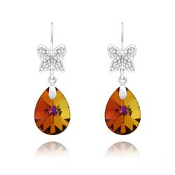Boucles d'Oreilles Papillon sur Goutte en Argent Rhodié et Cristal Volcano