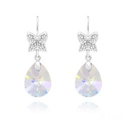 Boucles d'Oreilles Papillon sur Goutte en Argent Rhodié et Cristal Aurore Boréale