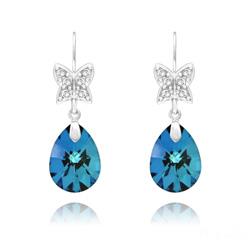 Boucles d'Oreilles Papillon sur Goutte en Argent Rhodié et Cristal Bleu Bermude