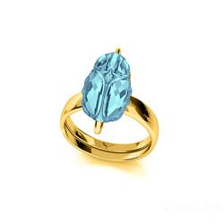 Bague Scarabée en Argent Plaqué Or Jaune et Cristal Bleu