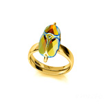 Wholesale Scarab 12mm 24K Gold Plated Silver Ring with Swarovski Crystal - Jet AB