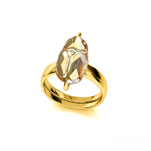 Wholesale Scarab 12mm 24K Gold Plated Silver Ring with Swarovski Crystal - Metallic Sunshine