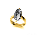Wholesale Scarab 12mm 24K Gold Plated Silver Ring with Swarovski Crystal - Silver Night