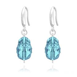 Boucles d'Oreilles Scarabée en Argent et Cristal Bleu