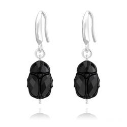 Boucles d'Oreilles Scarabée en Argent et Cristal Jet (Noir)