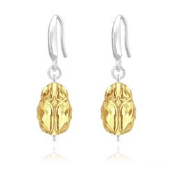 Boucles d'Oreilles Scarabée en Argent et Cristal Metallic Sunshine