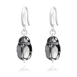 Boucles d'Oreilles Scarabée en Argent et Cristal Silver Night