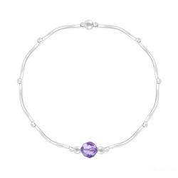 Bracelet en Cristal et Argent Bracelet Torsadé en Argent et Cristal Facetté 6mm Tanzanite