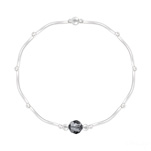 Grossiste Bracelet Torsadé en Argent et Cristal Facetté 6mm Silver Night