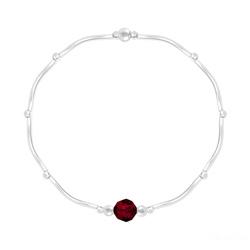 Bracelet en Cristal et Argent Bracelet Torsadé en Argent et Cristal Facetté 6mm Rouge Siam