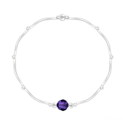 Bracelet Torsadé en Argent et Cristal Facetté 6mm Purple Velvet