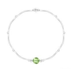 Bracelet Torsadé en Argent et Cristal Facetté 6mm Vert Péridot