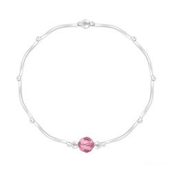 Bracelet Torsadé en Argent et Cristal Facetté 6mm Light Rose