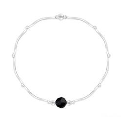 Bracelet Torsadé en Argent et Cristal Facetté 6mm Jet (Noir)